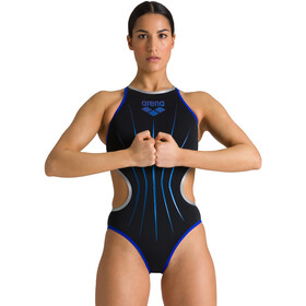arena One Electric One Piece Badpak Dames, black/neon blue/silver